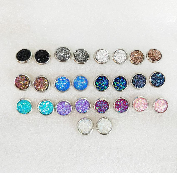 best selling Fashion 8mm Druzy Earings Stainless Steel Resin Drusy Dome Seals Cabochon Stud Earrings for Women Jewelry