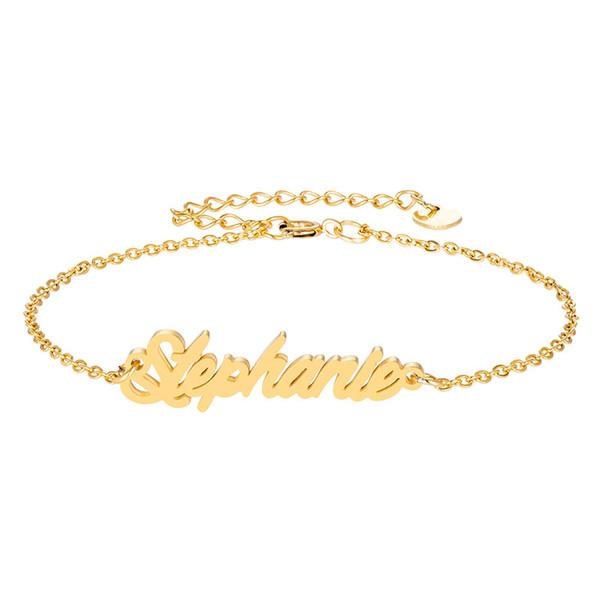 "Stainless Steel Engrave Script Name "" Stephanie "" Charm Bracelets for Women Personalized Custom Bracelet Charm Link Christmas Gift"