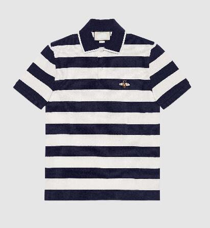 Express Men Polo Shirt Short Sleeve Italian Lapel Cotton Polos Shirts Red Striped With Bee Embroidery Spring Navy Blue