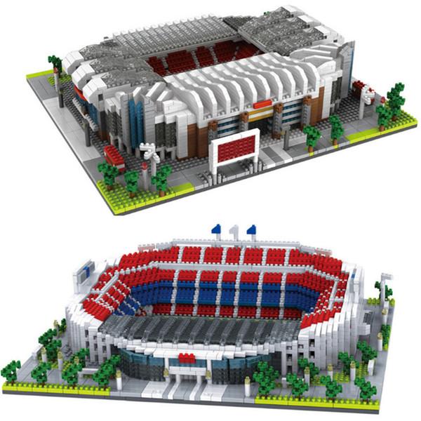 Diamond Camp Nou Bloques de construcción modelo Trafford Old Football Challenge Arquitectura para niños Juguetes de bricolaje ladrillos educativos # 9912-1 / 2
