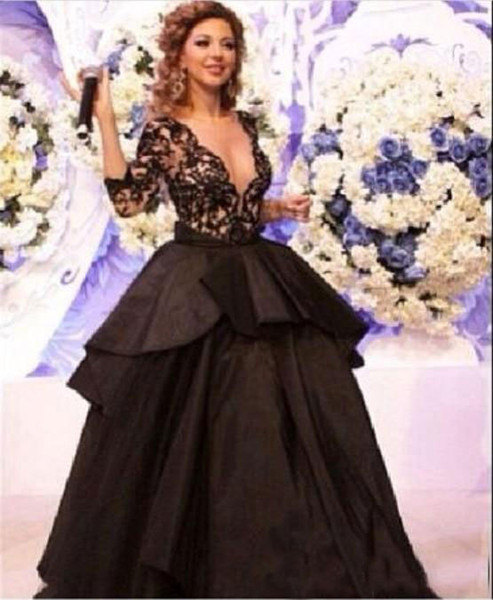 Hot Sales Free Shipping 2018 myriam fares dress real picture Three Quarter sleeve Ball gown Black V-neck celebrity dresses ZY144