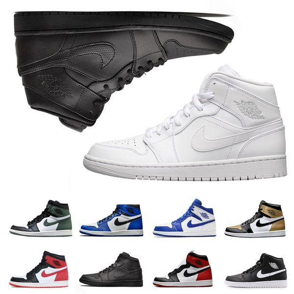 Wholesale 1 1s Basketball Schuhe Männer Ringe Barons Hyper Royal Mitte Weiß Schwarz Toe Blue Moon Turnschuhe Männer UNC OG Banned Sportschuhe