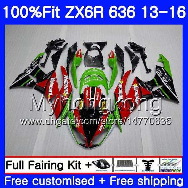 Injection mold For KAWASAKI NINJA ZX 6R ZX-636 ZX6R 13 14 15 16 Red green HOT 207HM.3 ZX636 600CC ZX 636 ZX-6R 2013 2014 2015 2016 Fairing