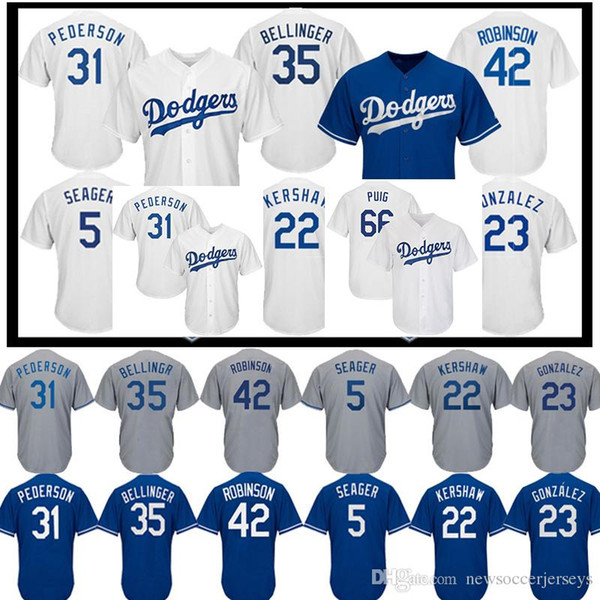 outlet store 00d6c bf998 2019 22 Clayton Kershaw Los Angeles Dodgers Jersey 10 Justin Turner 66  Yasiel Puig 23 Adrian Gonzalez 5 Corey Seager Men Baseball Jerseys From ...