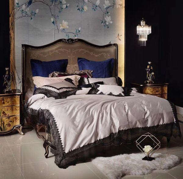 Luxus romantische schwarze Spitze Stickerei Seide Baumwolle Bettwäsche Set Bettbezug Bettlaken Bettwäsche Kissenbezüge Königin King Size 4 / 5er