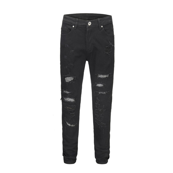 18FW High Street Button Nail Knife Cutting Damage Effect Splash Paint Locomotive Slim Stretch Jeans Man And Woman High Quality HFBYKZ054