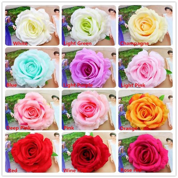 Grandi rose testa fiori artificiali fiori finti teste di rose fiore di seta festa a casa decorazione di nozze fiore di alta qualità