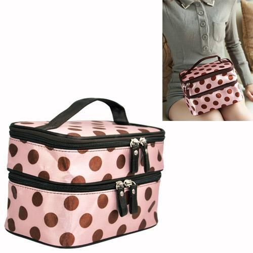 Wholesale- Pink Sweet Girls Retro Pro Dot Beauty Case Makeup Large Cosmetic Toiletry Bag