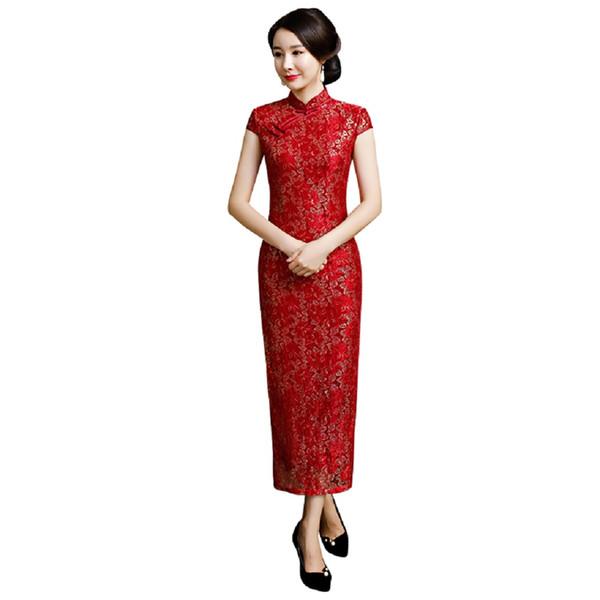 Shanghai Story 2018 New Sale High Split Short Sleeve Lace Qipao chinese cheongsam dress Sexy Party dress Long Dress For Women