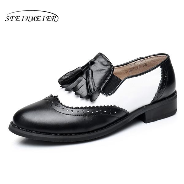 f4ecc309acd Genuine leather big woman US size 11 designer vintage flat shoes handmade  black white 2017 oxford