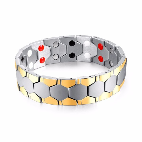 2018 New Design gold Color magnet Stone bracelet men jewelry Stainless steel Energy bracelets Gifts Nice Quality