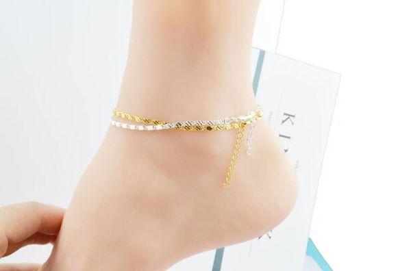 2018 Hot sales 2mm plating Gold silvery Bracelet Foot chain flat chain Side Bracelet Car flower Foot ornament 22.5cm+3cm