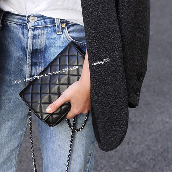 Brand new women 20cm mini woc shoulder bag chain cross body messenge bag lambskin/caviar/patent leather top quality luxury design clutches c
