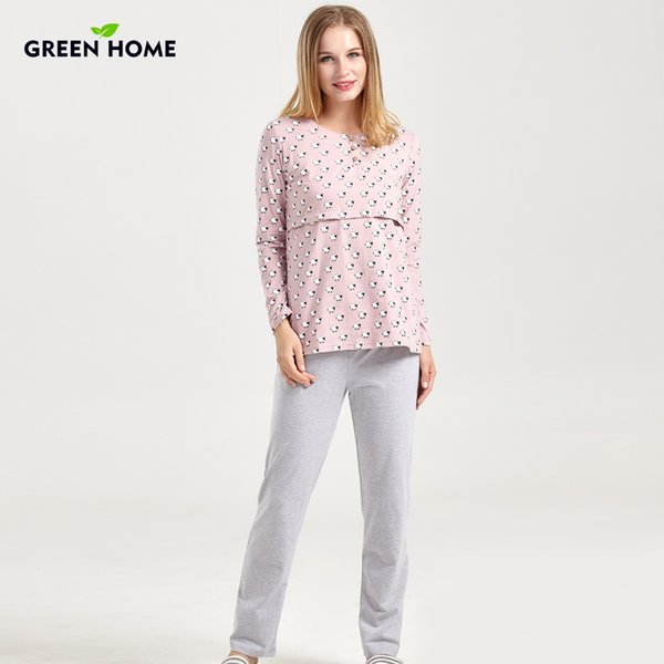 Green Home Nursing Full Sleeve Maternity Sleepwear Set for Pregnancy Nightwear Home Clothes for Women Pajamas Suit Lactancia