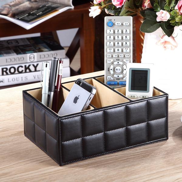Hohe Qualität Luxus Pu-leder aufbewahrungsbox Cosmetic Organizer Fernbedienung Handyhalter Home Office Organizer make-up