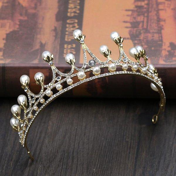 Bridal headwear, gold pearl crown, wedding crown