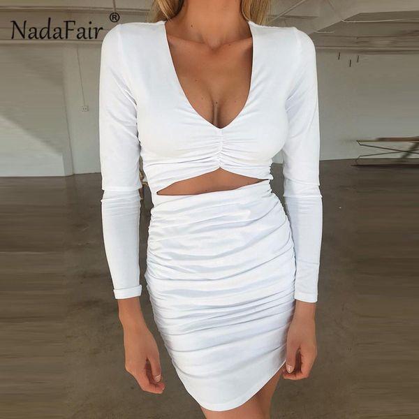 Nadafair stretchy ruched bodycon vestidos mulheres outono inverno manga longa envoltório mini vestido sexy oco out club party dress branco