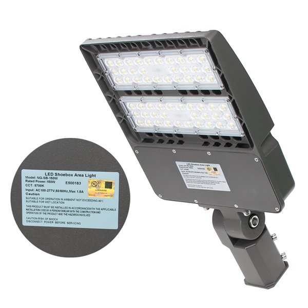 150W LED Parking Lot Lights LED Shoebox Pole Lights 26000lm 5700K 400W MH HPS Replacement Outdoor Area Street Security Lighting Fixture