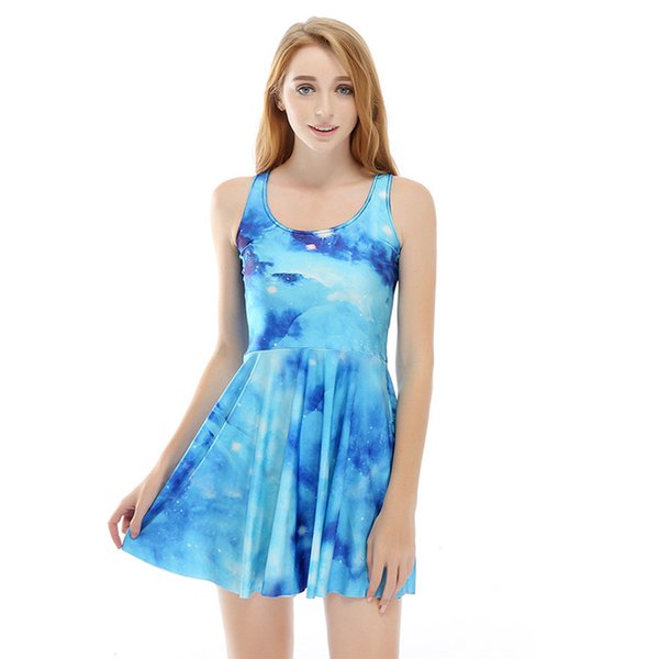 Wholesale free shipping girl fashion 3d transfer print sleeveless galaxy flower bow sweat candy casual sexy mini dress summer clothes