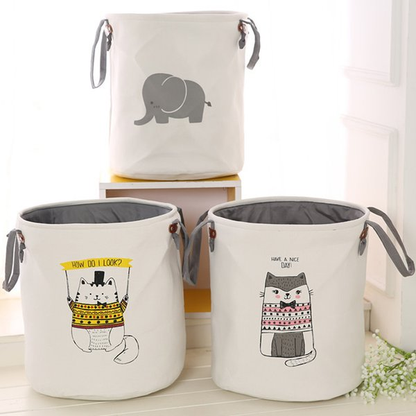 45*35CM Folding Storage Basket Cartoon Thicken Storage Box For Toys Clothing Socks Organizer Bin Laundry Round Bucket 3