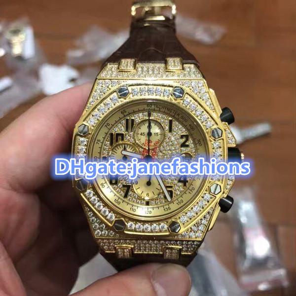 Montres pour hommes de luxe avec cadran doré, bracelet en cuir brun, montres à quartz, montres de sport, montres de sport étanches