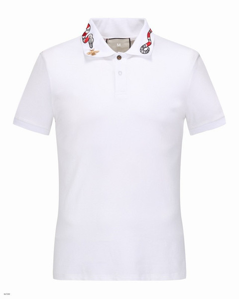 남성 고급 T 셔츠 봄 코튼 브랜드 T 셔츠 뱀 비 인쇄 POLO 셔츠 흑백 아시아 크기 M-3XL