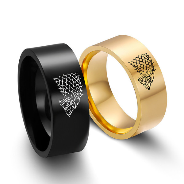 2018 Fashion New Vintage Punk Stainless Steel Ring Game of Thrones Ice Wolf House Stark of Winterfell Men Rings Jewelry Accessories