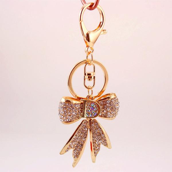 Bowknot Sparkling Keychains - English Alphabet D Bowknot Blingbling Keychain - Women Bag Charm Purse Pendant Handbag Decor Gift