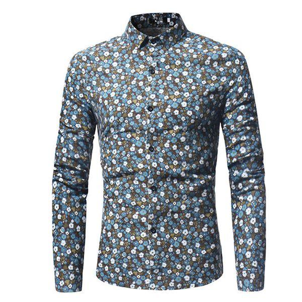 Male Floral Shirt Men Dinner Party Shirts Fashion Boy Flower Printed Slim Tops Spring New Tide Man Club Clothing Long Sleeve