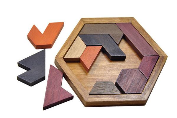 Quebra-cabeças para crianças Brinquedo de madeira Tangram / Jigsaw Board Forma geométrica de madeira Crianças aprendendo brinquedo educacional