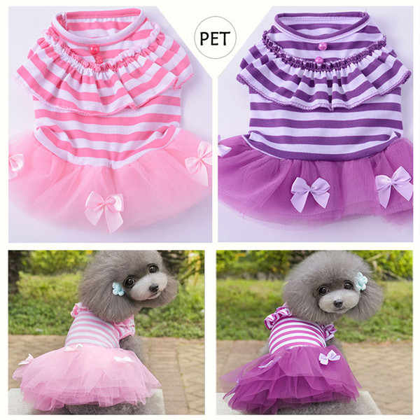 2018 Cute Dog Wedding Dress DHL Free Bow Pattern Summer Dogs Princess Tutu Dresses Pet Pink Purple Skirt Clothing Supplies XS -XXL