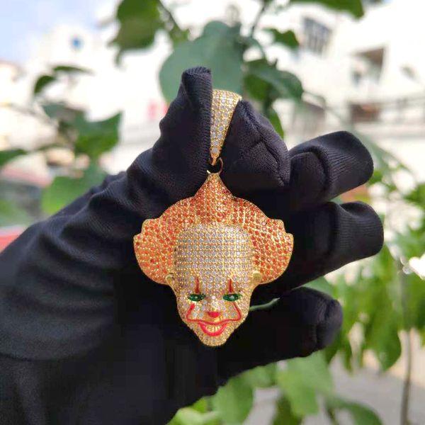 14K Messing mit Vergoldung Clown Anhänger Halskette Iced Out Kubikzircon Männer Schmuck Halloween Geschenk