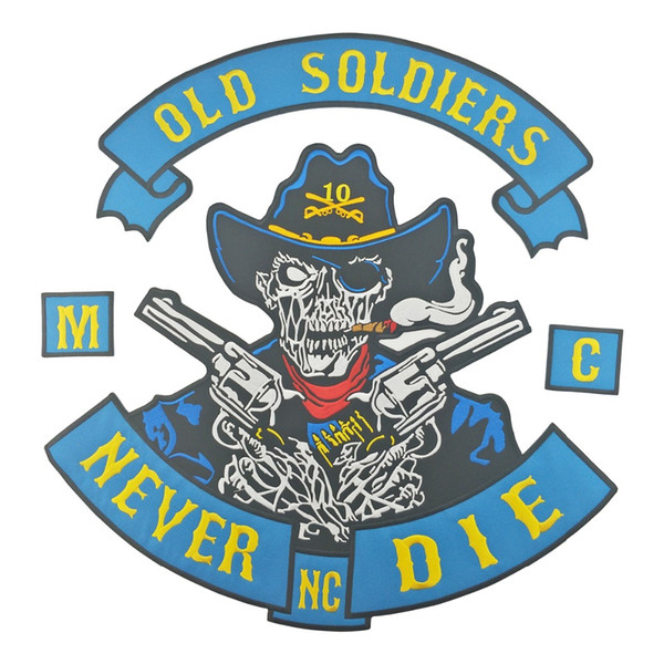 COOLEST NEVER DIE OLD SODIERS WITH GUN SKULL MOTORCYCLE COOL LARGE BACK PATCH ROCKER CLUB VEST OUTLAW BIKER MC PATCH FREE SHIPPING