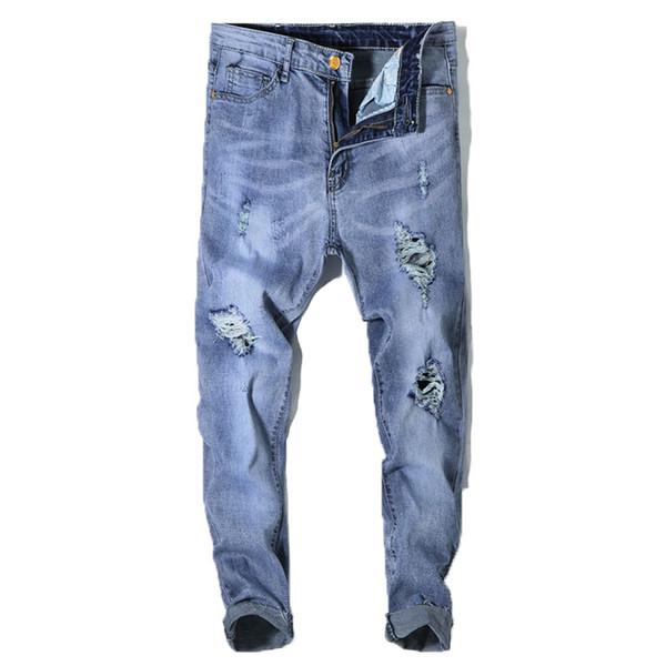 2018 Brand Designer Slim Fit Ripped Jeans Men Hi-Street Mens Distressed Denim Joggers Knee Holes Washed Destroyed Jeans 28-36