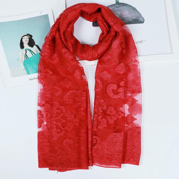 190*70cm 18 Colors Artificial Silk Cloud Pattern Designer Scarf Women Hijab Shawls Pashmina Wrap Scarf Table Blanket Beach Towel