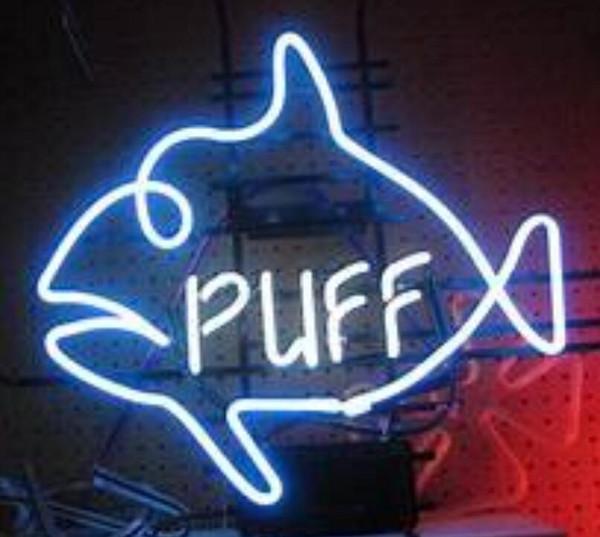 PUFF Leuchtreklame Real Glasrohr Bar Shop Business Werbung Dekoration Geschenk Display Metallrahmen Größe 17''X14 ''