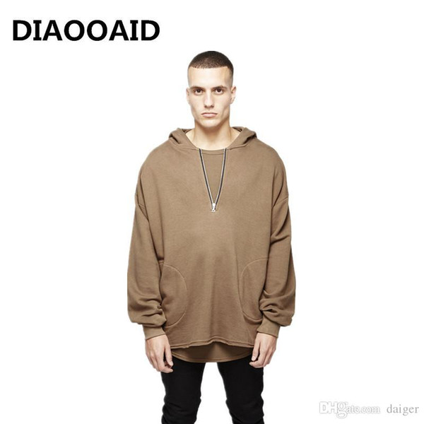 DIAOOAID 2018 New brand men Hoodie Streetwear Hip Hop Solid high street fashion hiphop male cotton comfortable top clothes