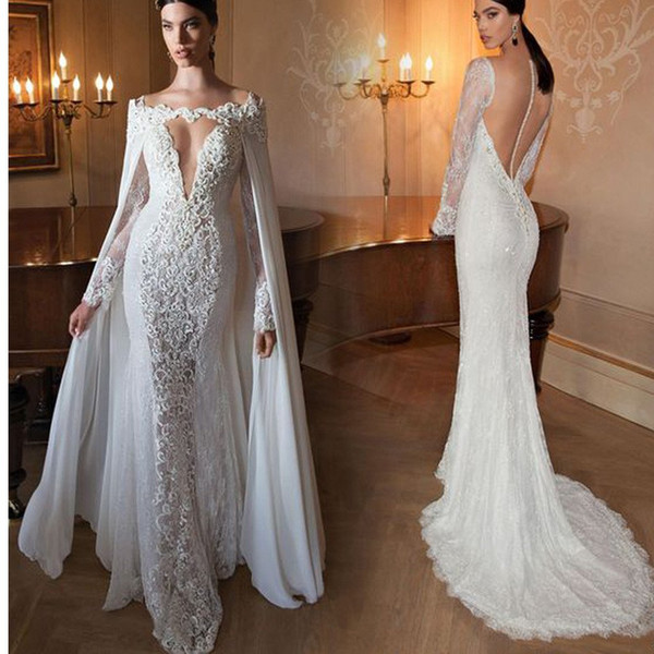 Expensive Sexy Deep V-Neck Long Sleeves Mermaid Evening Dresses Luxury Pearls Crystal Lace Appliques With Cape Prom Gowns Formal Dress 2018