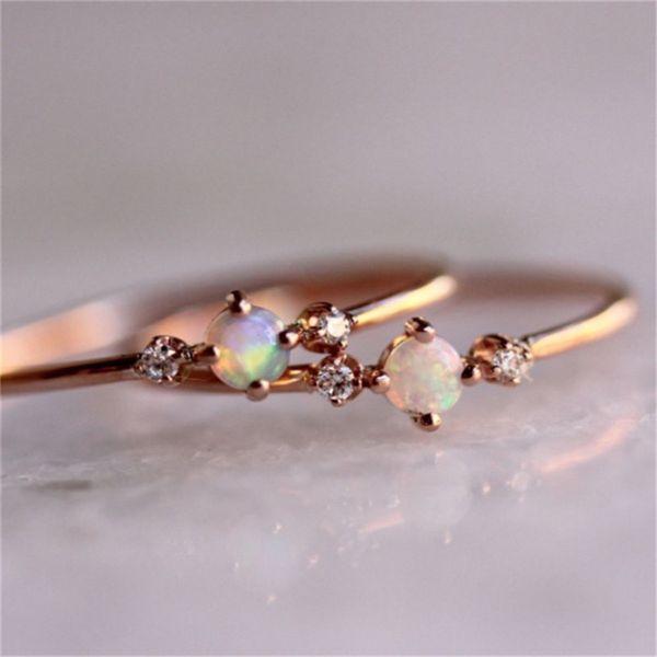boako small stone fire opal thin rings for women rose gold filled zircon rainbow birthstone rhinestone simple rings jewelry z3