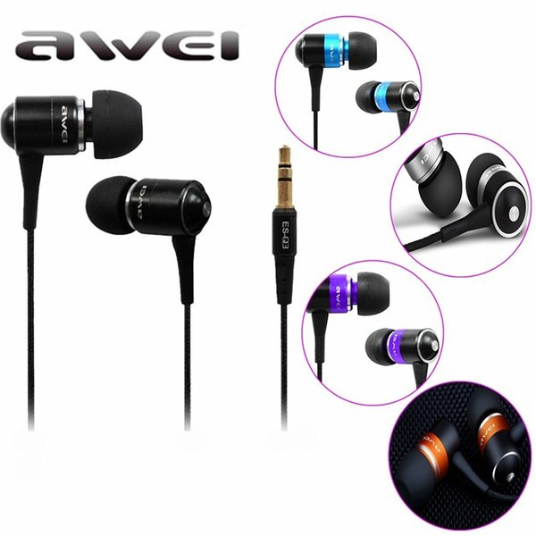 In-Ear Earphone Awei ES Q3 Stereo Earbuds Super Bass Sound Isolation Headset For iPhone Samsung Huawei MP3 Mobile Phones Mp3/Mp4