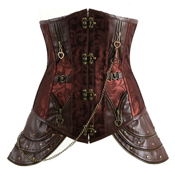 Fashion Punk Corset Underbust Body Shaper Women Body Slimming Chest Harness Chest Compression Vest Brown Color F0804 with Rivet Chains