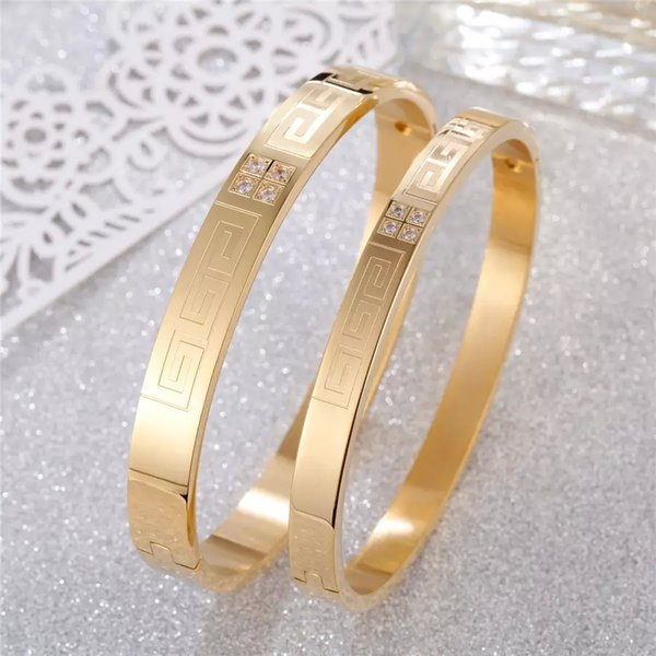 whole saleTrendy Stainless Steel Bracelet Bangles For Womens Mens PVD Yellow Gold Silver Rose Gold Girls Lover Fashion Jewelry Accessories