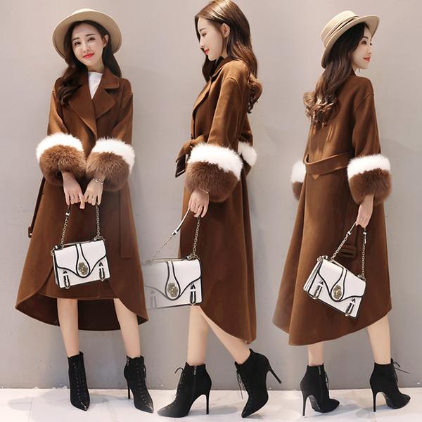 Mode nouvelle automne et hiver dames sauvages de haute qualité Slim chaud long long vestes en laine au genou