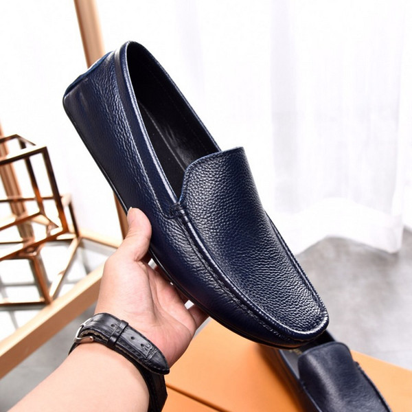 Fashion New Louise Mens Dress Loafers Walk Shoes Slip-On Genuine Leather Office Drive Casual Italian Shoes Size 38-45