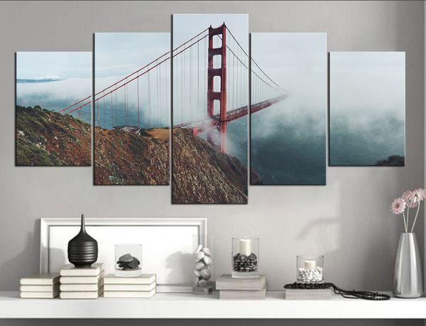 No Frame Wall Art Picture HD Print Canvas Painting Spray Painting Home Decor San Francisco Bridge Landscape