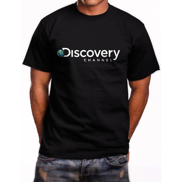 Новый Discovery Channel логотип с коротким рукавом мужская черная футболка размер S до 5XL 2017 новый досуг мода футболка мужчины хлопок с коротким рукавом
