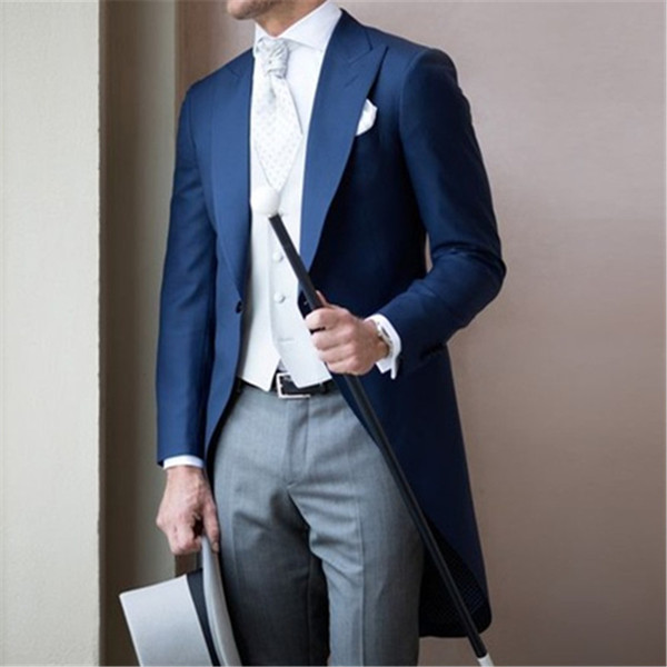 Modern Blue Long Coat Men Suit 3Pieces(Jacket+Pants+Vest+Tie) Latest Wedding Prom Groom Men Suits Tuxedo Terno Masculino