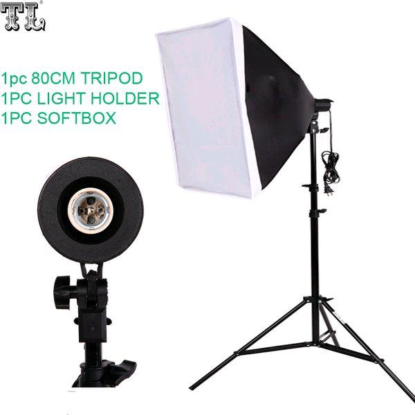 Freeshipping Photography SoftBox Lighting Kit 50x70cm Softbox 80cm lamps Stand Photo Studio Accessories Set