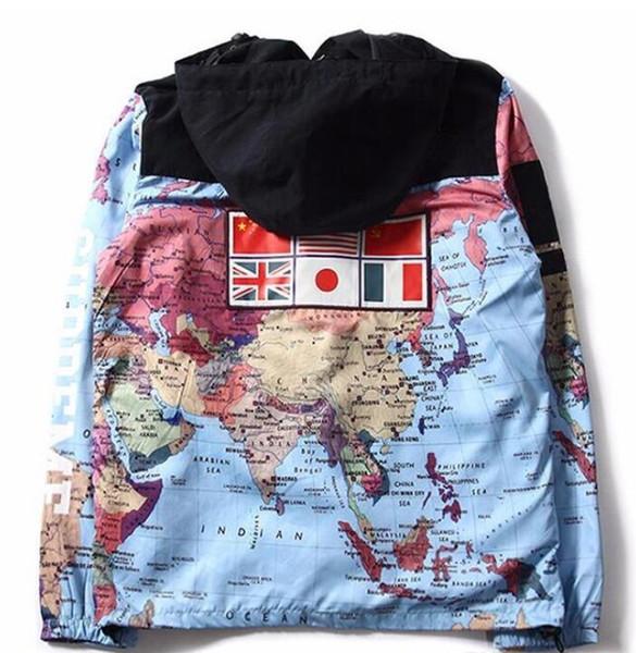 2018 Männer Marke Kleidung Plus-Größe Militär Karte Jacke reflektierende Jacken Mäntel männliche Mode Windbreaker Mantel mit Kapuze Stickerei Oberbekleidung