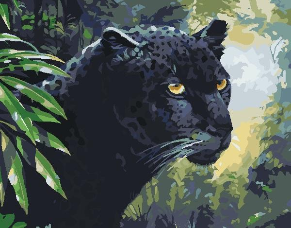 16x20 inch DIY Panther Hunting In The Jungle Paint On Canvas By Numbers Kits Art Acrylic Oil Painting Frameless For Adults And Children